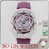 Flower Dial Colored Leather Diamond Quartz Watch Japan Movt Super Luminova Manufactures
