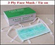 Disposable 3-ply face mask with tie on, different size, materials and colors for option Manufactures