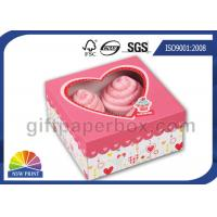 Custom Printing Folding Cup Cake / Dessert Paper Box with Display Window Manufactures