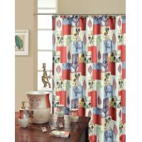 Bliss Blue / Rust Print Butterfly Shower Curtain Polyester Eco Friendly Manufactures