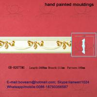 Hand Painted Green plant / Crown mouldings / PU Mouldings Manufactures