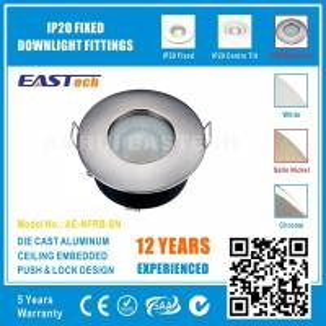 Aluminium GU10 MR16 Push Lock IP65 Bathroom Downlight Fittings - Satin Nickel Color Manufactures