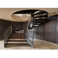 High quality open staircase wrought iron stair railing design curved staircase Manufactures