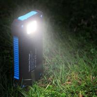 ABS 12000mAh Polymer Battery Dual USB Waterproof Solar Power Bank with Flash light Manufactures