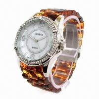 Resin Sports Watch with Alloy Case and Resin Plastic Strap, CZ Stone on Case, 2013 New Style Manufactures