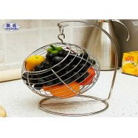 Quality Round Wire Mesh Fruit Basket , Decorative Swayed Fruit Bowl With Hook for sale