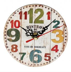 Non Ticking Bistro De Paris Style Wall Clock Multi Color Number Round Quartz Battery Operated Clock Vintage Home Decor Manufactures