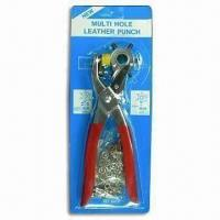 3-in-1 Leather Hole Punch/Eyelet and Snap Fasteners Pliers with Red and Silver Handle Color Manufactures