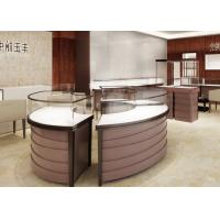 Curve Locking Steel Wooden Retail Jewelry Display Cases Purple Coating Finish Manufactures
