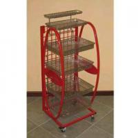 Red 6 Tier Steel Display Stands Trade Show Display Stands For Supermarket Manufactures