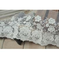 Soft Graceful White Nylon Lace Trim , Floral Wide Mesh Tulle Lace Trim By The Yard Manufactures