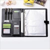 Office Supplies  PU Leather Ring Binder Meeting File Folder ,4 ring binder big A4 file folder with Calculator Manufactures
