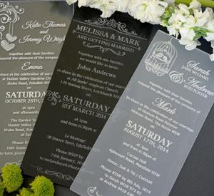 Beautiful Clear Acrylic Handmade Wedding Invitation Cards Designs , Silk Printed Manufactures