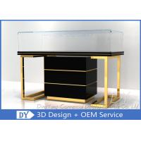 Buy cheap Custom Commercial Mirror Gold Jewelry Display Case With Cabinet from wholesalers