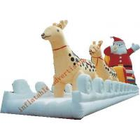 Inflatable Christmas Santa With Ride Reindeer Made Of PVC Tarpaulin For Christmas Manufactures