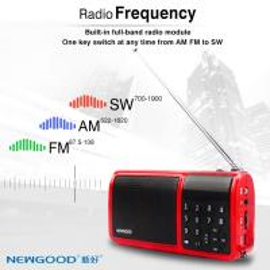 China NEWGOOD full band radio playing support mini U disk bass player speaker with flashlight on sale