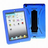 China Silicone Cases for iPad 2, iPad silicone case, hard back and soft silicone hybrid case for iPad on sale