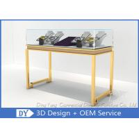 Beauty Practicability Glass Jewelry Showcases With Dis - Assembly Gold Legs Manufactures