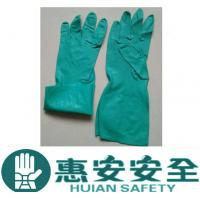 Oil Resistant Flock Line Green Long Industry Working Nitrile Glove Manufactures