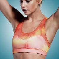 Sublimated Fashion Womens Yoga Wear Tops with Chafe Resistant , Sexy Workout Manufactures