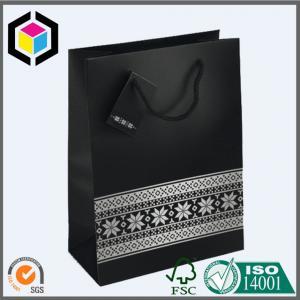 Luxury Matte Black Color Paper Bag; Ribbon Handle Gift Paper Packaging Bag Manufactures