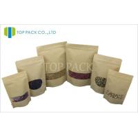 Window Kraft Paper Stand Up Pouch With Zipper , Small Brown Kraft Paper Bags Manufactures