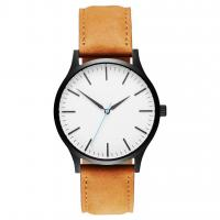 China Custom Mens Stainless Steel Watches Leather Strap / Japanese Quartz on sale