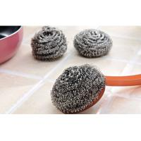 Kitchen Cleaning Stainless Steel Scrubber Pads Sliver Color With Plastic Handle Manufactures
