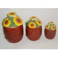 Dolomite Ceramic Kitchen Canisters Hand Painted Basket Sunflower Covered Canister 3 Set Manufactures