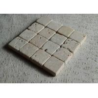 Beige Natural Travertine Coasters Birthday Decoration Items Tumbled Finish Manufactures