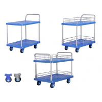 Hand Pushing Folding Storage Cart Double Layer For Warehouse / Supermarket Use Manufactures