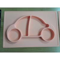 China Recycled colorful silicone baby food grade plate non-toxic silicone baby plate with logo embossed for sale