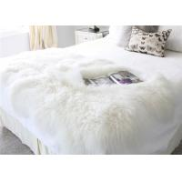 120*180cm Long Wool Real Mongolian Fur Fabric , White Sheepskin Rug For Nursery  Manufactures