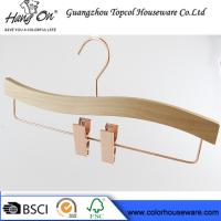 Rose Gold Wooden Trouser Hangers With Clips / 30 ~ 36cm Bottom Hangers Manufactures