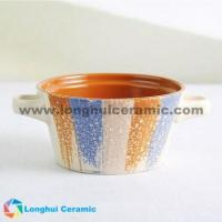 4.8'' Colorful glaze embossed two ears ceramic bowl Manufactures