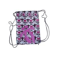 Heat Transfer Printing Bags , Pink Heart Nylon Strings Back Bag With Zipper Manufactures