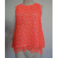 China Coral crochet flower lace sleeveless top Ladies Fashion Clothing red color on sale
