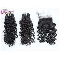 Black Jerry Curl Brazilian Virgin Hair Extensions No Tangle With Lace Closure Manufactures
