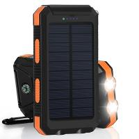 Inbuilt Compass 8000mAh Polymer Battery IP67 Waterproof Solar Power Bank for Hiking Manufactures