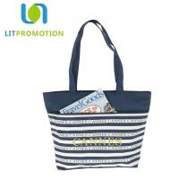 600D City Name Souvenir Personalized Beach Tote , Blue And White Striped Beach Bag Manufactures