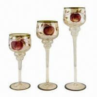 Hand-painted Amber Goblet Glass Candle Holder Set  Manufactures