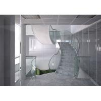 Marble steps stainless steel curved staircase indoor design Manufactures