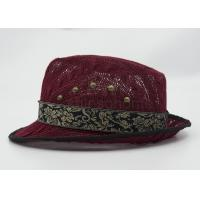 Quality Dark Red Mesh Fisherman Bucket Hat With Silk Ribbon For Summer for sale