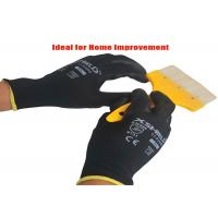 Black PU Coated Gloves , Lightweight Leather Working Gloves Knit Wrist Manufactures