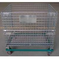 China 5 Casters Removable Wire Mesh Container Storage Cages With Trolley Cars on sale
