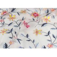 120 Cm Embroidered Floral Multi Colored Lace Fabric Gauze For Garment Factory Manufactures