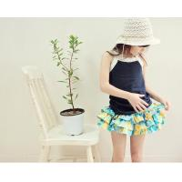 Angou Summer Style Kids Girls Floral Pattern Short Pants Cuffed Leg Cotton Bottoms Trouser