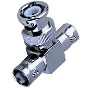 Nickel / Gold Plated BNC T Connector Double Female To Male Type Adaptor