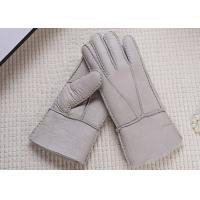 Double Face Winter Sheepskin Leather Gloves With Lambswool Lining / Natural Dyed Color Manufactures