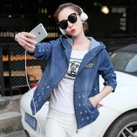 China Damaged Wash Ripped Womens Jean Jackets With Hoodie Wear Comfortable on sale